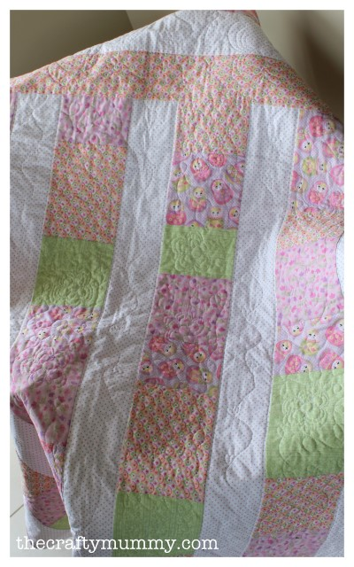 baby girl quilt pink green