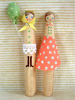 little lady peg dolls with balloon