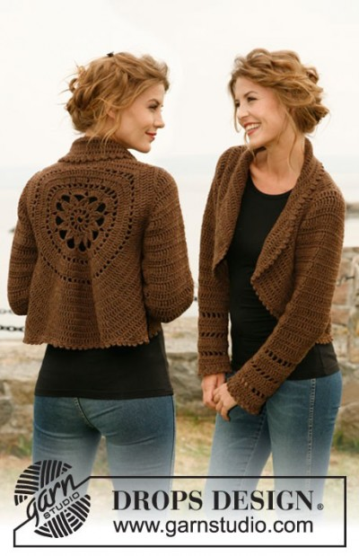 crochet shrug brown