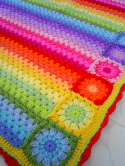 rainbow crochet blanket