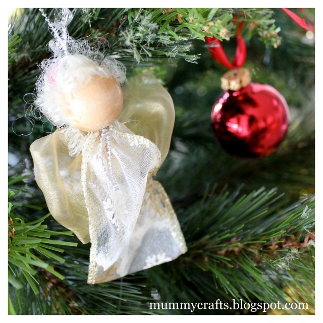 ribbon bead angel Christmas ornament