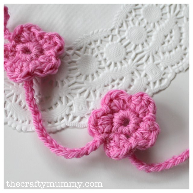 crochet flower garland pink