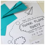 party invite paper plane hand drawn