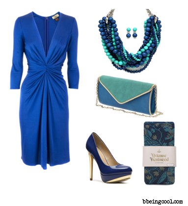 blue dress green accessories