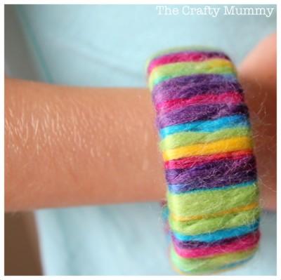 rainbow yarn wrapped bangle