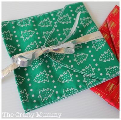 fabric CD envelope gift bag green