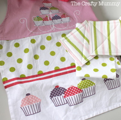 kids kitchen set apron tea towel pot holders