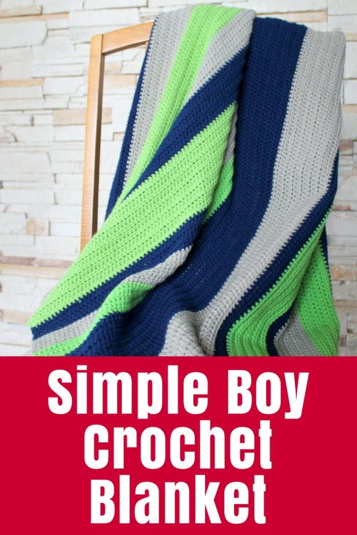 """A super simple crochet blanket in """"boy"""" colours for my son based on my Rainbow Crochet Blanket Tutorial - great for a beginner or a quick gift!"""