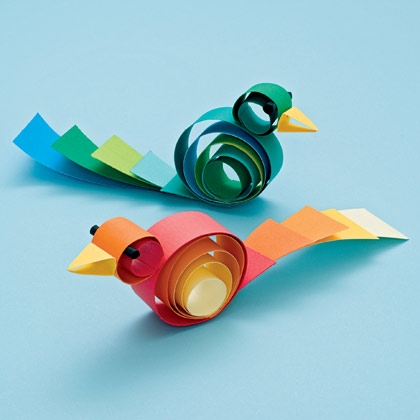 curly paper birds craft