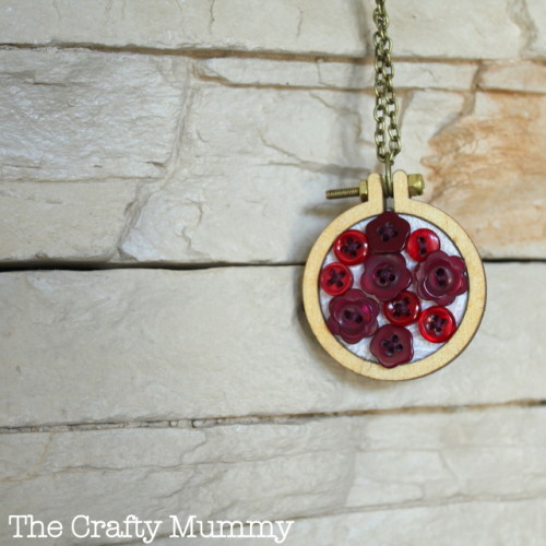 mini embroidery hoop with buttons necklace