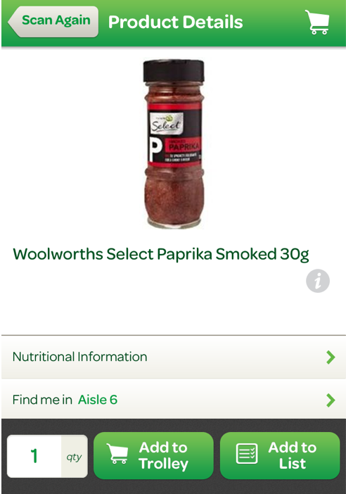 woolworth smart phone app scan barcode