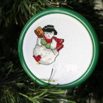 christmas ornament cross stitch snowman