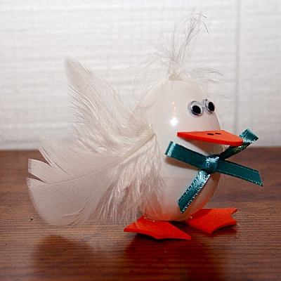 duck made from plastic egg