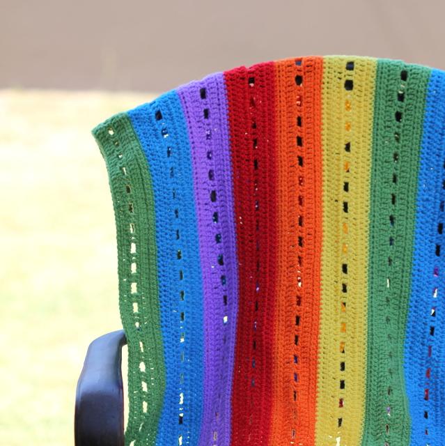 rainbow stripe crochet blanket