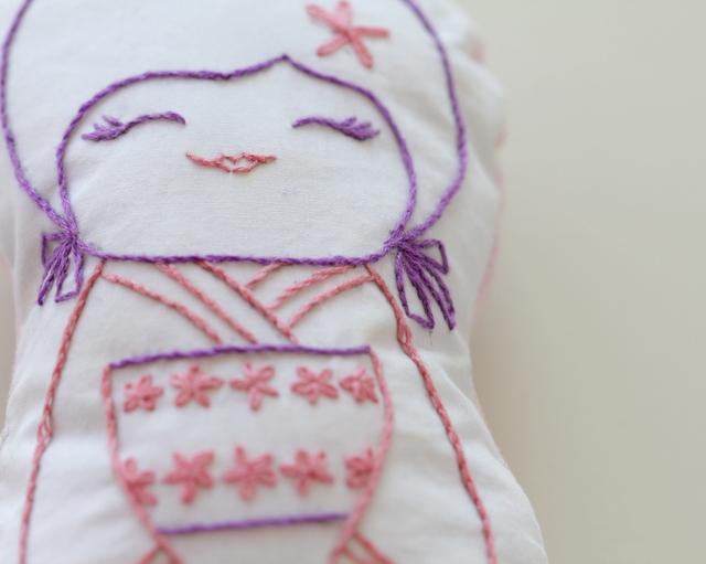 stitchery kokeshi doll softie