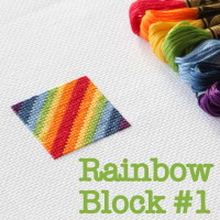 rainbow cross stitch block 1