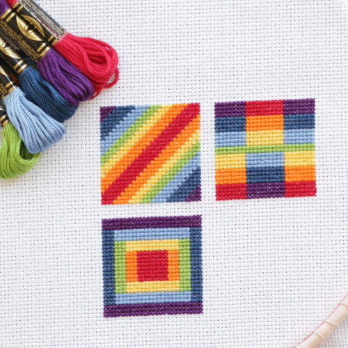 Cross Stitch Rainbow Block 3 with free chart