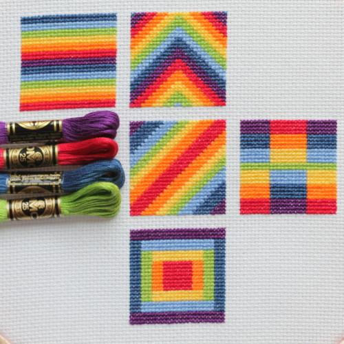 cross stitch rainbow block 5