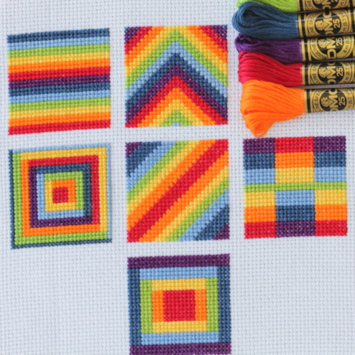 cross stitch rainbow blocks with free charts