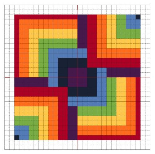 Cross Stitch Rainbow Block 8