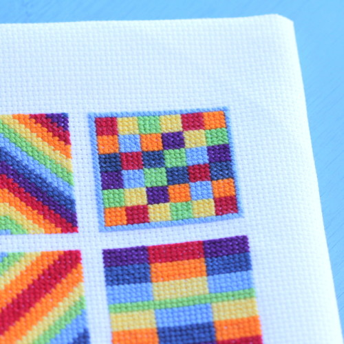cross stitch rainbow block 7