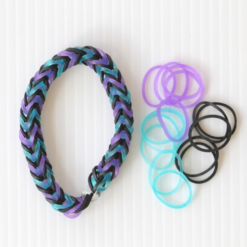 fishtail loom bracelet purple turquoise black
