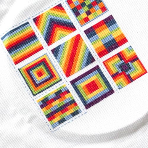 Cross Stitch Rainbow Block 9