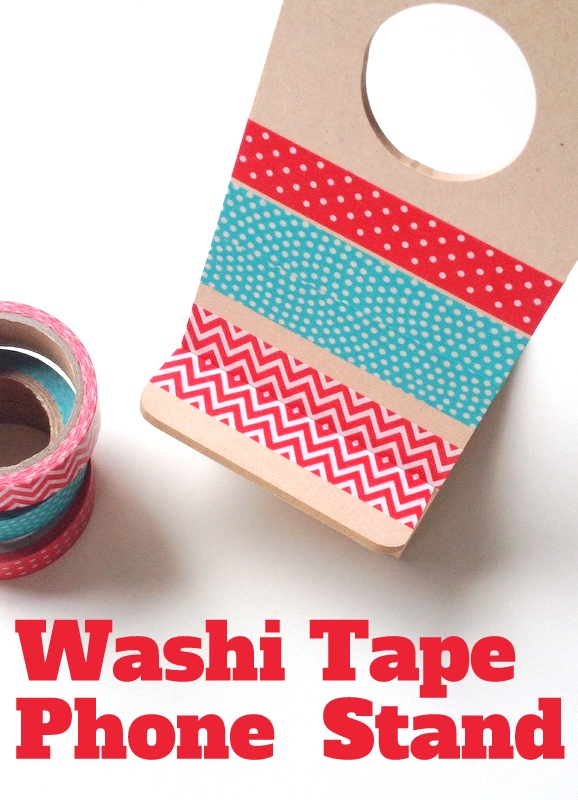 Wooden Phone Holder decorated with Washi Tape