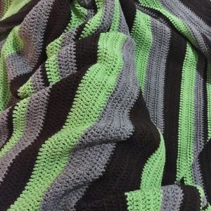 green brown crochet blanket