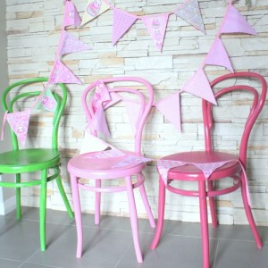 handmade bunting and chairs