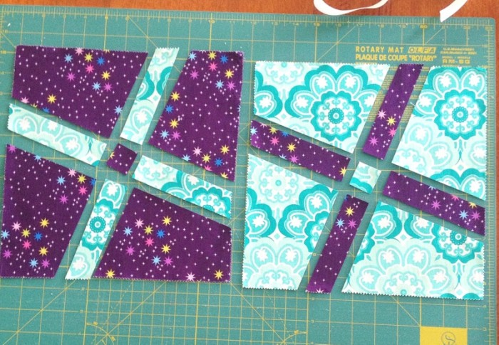 Wonky Cross block pieces