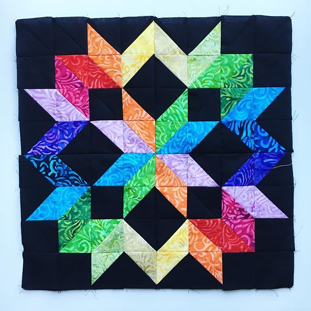 rainbow star mini quilt