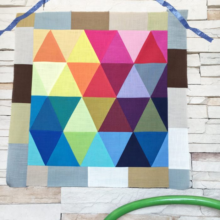 rainbow triangles mini quilt top