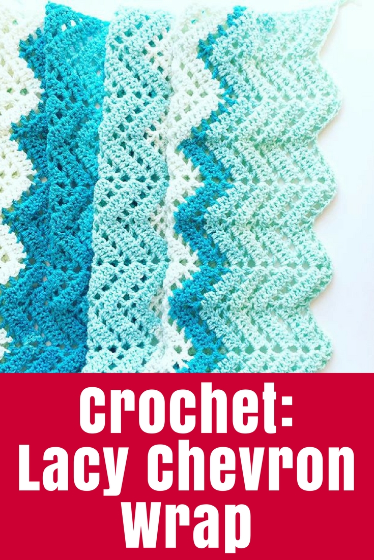 Crochet a lacy chevron wrap - perfect for the cooler weather in pretty Caron Cakes yarn and using a free pattern from Moogly blog.