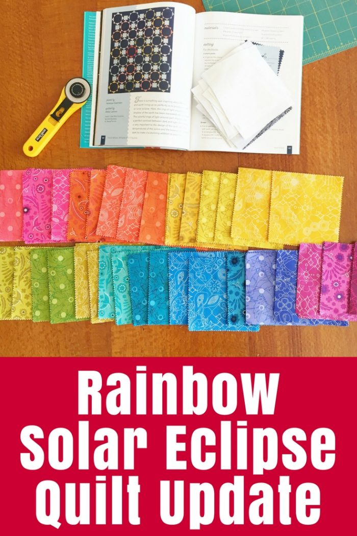 Starting a new project - the Rainbow Solar Eclipse Quilt - to clear a few doldrums with Charm School book love and Sun Print fabric.