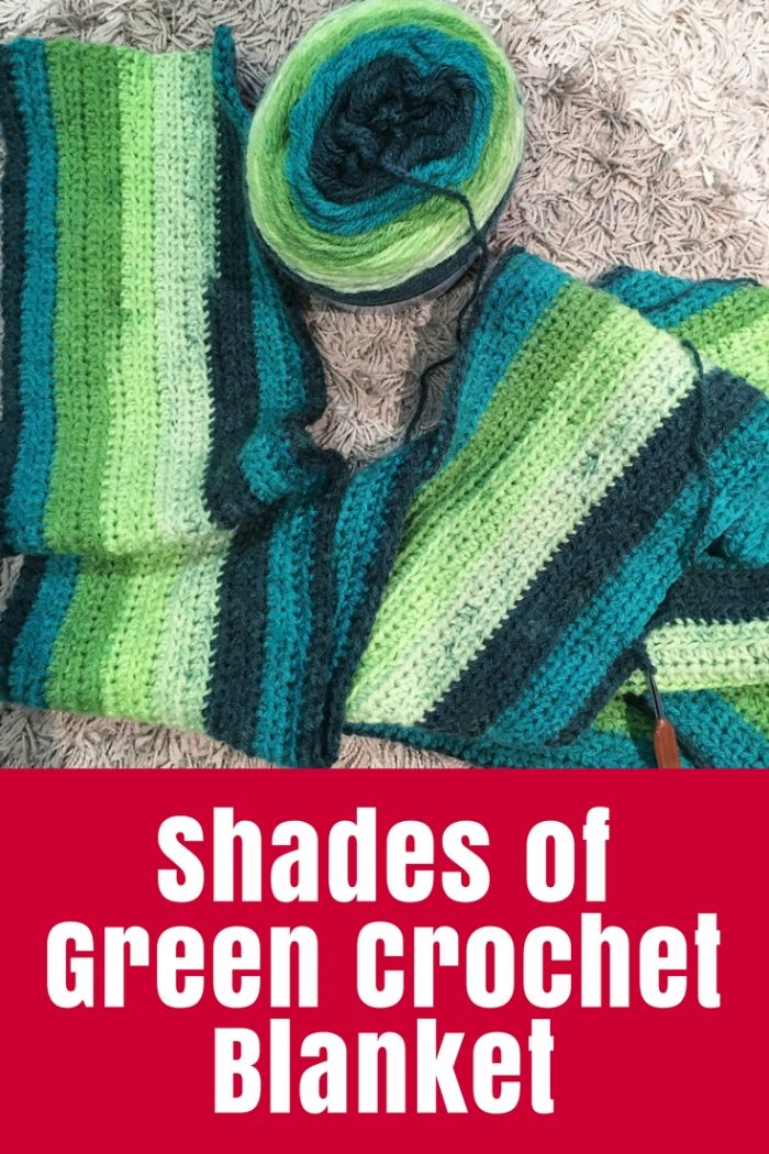 My Shades of Green Crochet Blanket is growing slowly but steadily. It started out super simple but now has a little band of interest added.